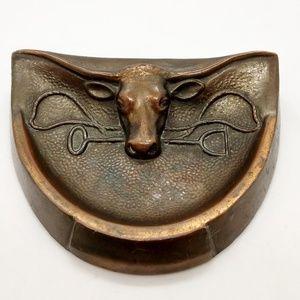 Vintage Copper Longhorn Pocket Change Holder